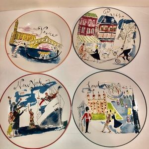 Rosanna Bon Voyage Dessert Plates, Set of 4